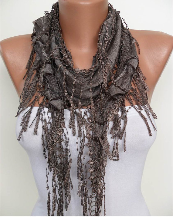 Brown Scarf with Brown Trim Edge - Summer Design