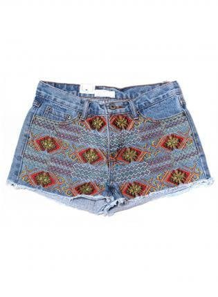 Denim Cut Off Shorts with Embroidery Aztec Print Front