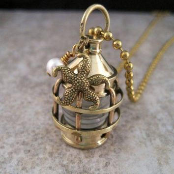Nautical Steampunk Brass Lantern Necklace