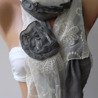 Grey - Roses /Feminine - Elegant /Shawl / Scarf with Lace Edge.