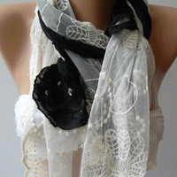 Black -- Elegance  Scarf - with Lace Edge
