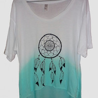 Vintage Dreamcatcher Screen Print Crop Top Ombre Dyed, american apparel white turquoise dream catcher tie dye