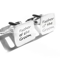 Father of the Groom Cufflinks Square Hand Stamped Wedding personalized gift men cuff links Birthday dad daddy