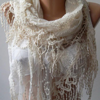 Pearl White - Elegance Shawl - Scarf with Lace Edge