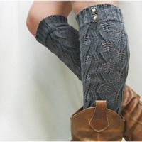 LW18 grey crochet leg warmer with 2 buttons