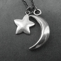 MOON AND STAR Necklace - Fashion Jewelry - Crescent Moon and Star on 18 inch gunmetal chain