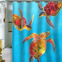 DENY Designs Home Accessories | Clara Nilles Tie Dye Sea Turtles Shower Curtain
