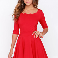 LULUS Exclusive Tip the Scallops Red Dress