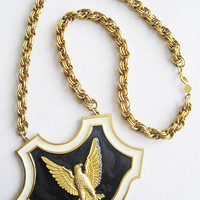 Huge Heavy Vintage Gold Eagle Navy Blue Enamel Necklace Signed Accessocraft NYC