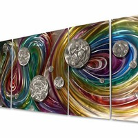 Divine Rainbow Five-Panel Handcrafted Aluminum Wall Hanging