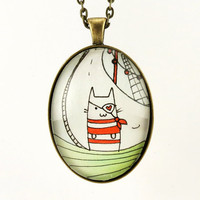 Pirate Cat Necklace, Cute Nautical Pendant, Kawaii Cat Jewelry, Original Watercolor Painting Under Glass