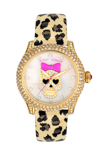Betsey Johnson Skull Dial Leather Strap Watch | Nordstrom