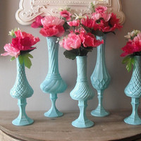 5 upcycled Tiffany Blue Pedestal Vases ... Romantic Shabby chic Aqua ... cottage Wedding