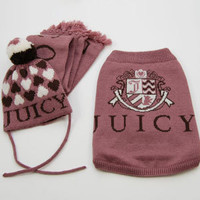 Juicy Couture Dog Sweater, Hat, &amp; Scarf Set