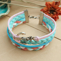 Anchor bracelet- turquoise and pink braided bracelet for girlfriend, bracelet for her