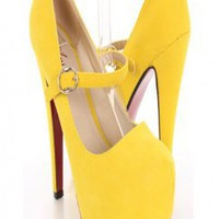 Yellow Faux Suede Mary Jane Platform Pump Heels By Amiclubwear