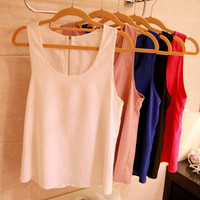 [US$ 11.19] Pure Sleeveless Baggy Chiffon Vest