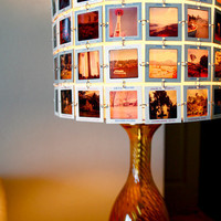 CUSTOM - New Amber Glass Table Lamp with Lampshade made from YOUR SLIDES