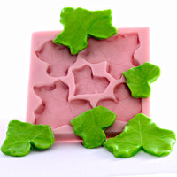 Ivy Leaf Mold - Fondant Mold - Gum Paste Mold - Candy Mould - Silicone Mold - Five Cavity Mold (205F)