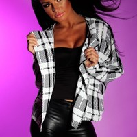 Crystallise Monochrome Check Print Cropped Jacket | Pink Boutique