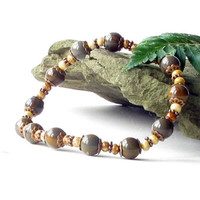 Stone stretch bracelet in natural earth colors - vintage look