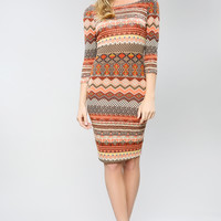 Geo Pattern Stripe Slimfit Dress