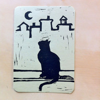 City Cat Hand-printed Card - 3.5 x 5""