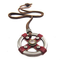 soft leather necklace metal pendant men leather long necklace, women leather necklace  PL0331