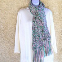 Winter Scarf, crocheted in Rosy Pink and Green Tweed
