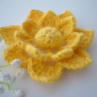 Hand Crochet  Mohair Cotton Corsage Brooch Applique Yellow Spring Flower