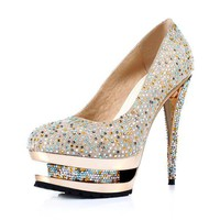 Crystal Banquet Shoes Golden - Sheinside.com
