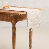Leather-Twined Table Runner by Anthropologie Light Grey 16 X 90 Dinnerware