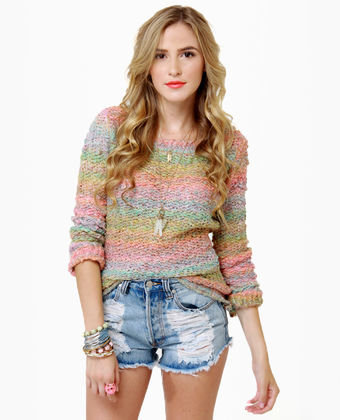 Cozy Rainbow Sweater - Open Knit Sweater - Crewneck Sweater - $78.00