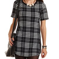 Plaid Shift Dress with Curved Hem by Charlotte Russe - Black/White