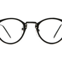 80's Vintage - James Keyhole Rounded Wayfarer Clear Lens Glasses (Black/Black)