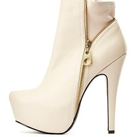 Qupid Zipper-Trim Platform Booties by Charlotte Russe - Stone