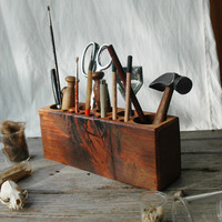 Desk caddy: The Original, rustic, reclaimed wood, Large.