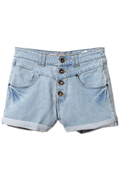 Rinse Rolled Hem Light-blue Denim Shorts [NCSPX0238] - $47.99 :