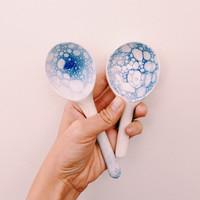 Blue Moon Spoon: blue and white and bubbles