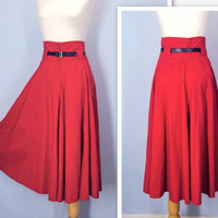 Vintage 1980s Skirt / Red Super High Waist Full Skirt / large