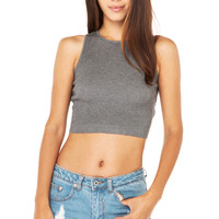 One Day Ribbed Crop Top in Charcoal