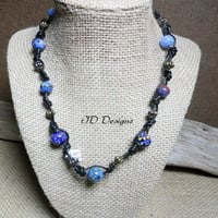 Leather Knotted Blue Glass Lampwork Bead Necklace