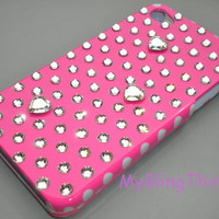 PINK Polka Dots & Hearts Crystal Diamond Bling Rhinestone Case for Apple iPhone 4 4G 4S handmade with Swarovski Elements