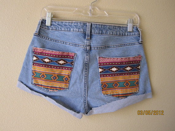High Wasted Aztec Print  Shorts