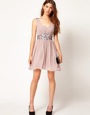 Little Mistress Embellished Waist Chiffon Strap Dress at asos.com
