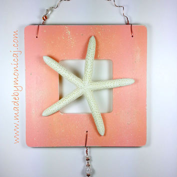 Starfish Rustic Beach Wall Hanging.  Peach Color Distressed Look Beach Decor.  Wooden Frame Wall Hanging.