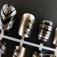 Black & Gold Aztec / Tribal Handpainted Nail Art