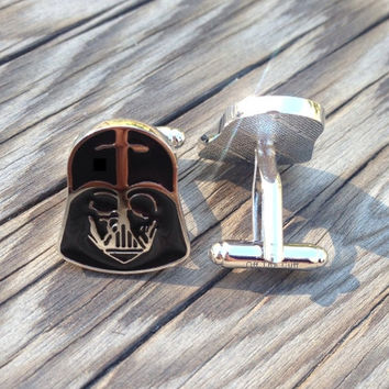 Darth Vader cufflinks, Star Wars movie cuff links, menswear, mens fashion, best man gifts, groomsmen gifts, wedding jewelry
