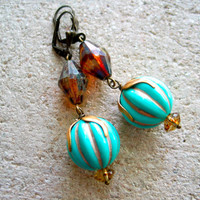retro aqua blue and root beer boho earrings