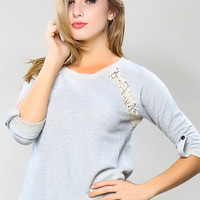 Crochet Detail Sweat Shirt